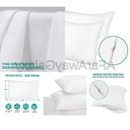 Adoric Queen Pillow Cases with Hidden Zipper, 100% Brushed M