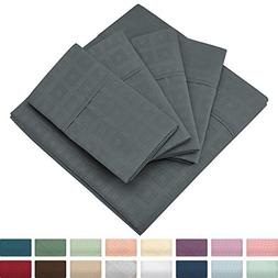 Cosy House Collection Elegant Bed Sheets - Queen Size, Grey
