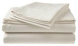 Queen Size White 400 Thread Count 100% Cotton Sateen Dobby S