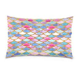 ALAZA Rainbow Mermaid Scale Cotton Standard Size Pillowcase