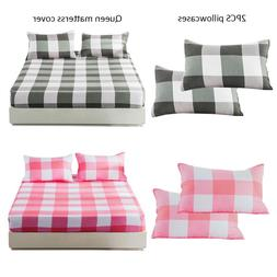 Retro Dark Green Plaid And Pink Plaid 150x200cm Queen Bed <f