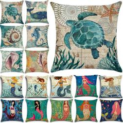 Retro Ocean Mermaid Square Throw Pillow Cases Sofa Home Car