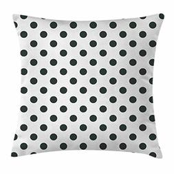 Ambesonne Retro Throw Pillow Cushion Cover, Nostalgic Polka