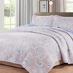 NTBAY 3 Pieces Reversible Coverlet Set Floral Printed Quilt