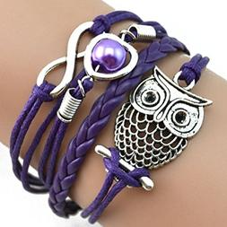 RIUDA Fashion Women Lovely Infinity Owl Pearl Friendship Mul