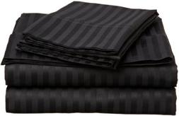 Royal Tradition Damask Stripes Black 600 Thread Count Split