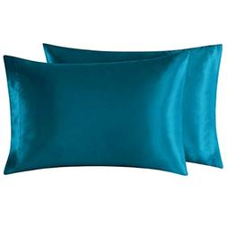 EXQ Home Satin Pillowcase for Hair and Skin, Teal King Size