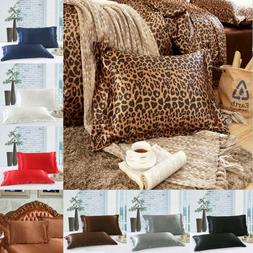 Satin Silk Pillow Cases Cover Home Decor Luxury Set of 2 Pil