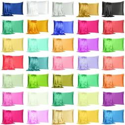 satin silk pillowcase pillow case cover queen