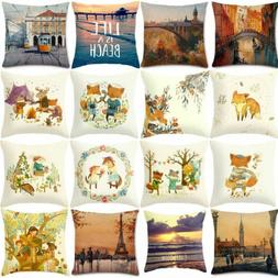 Scenery Painting Cotton Linen Pillow Cases Pillow Cover Sofa