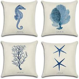 Sea Animal Plant Square Cushion Covers Pillow Cases Home Bed