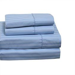 Set of King Pillowcases Stripes Blue Cotton-Blend Wrinkle-Fr