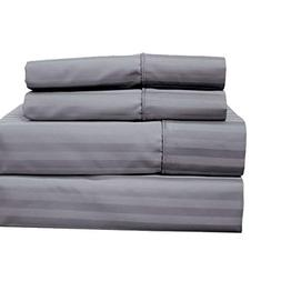 Set of King Pillowcases Stripes Grey Cotton-Blend Wrinkle-Fr