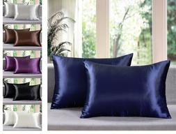 - Solid Soft Charmeuse Satin Pillow Cases with Zipper Closu