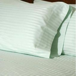 Set of Two Mint 600TC Stripes Standard Queen Size Pillowcase