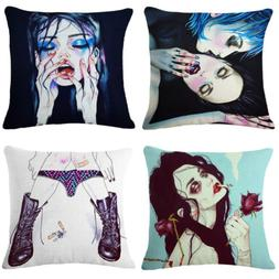 Sexy American Women Linen Cotton  Pillow Cases Cover Cushion
