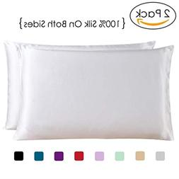 COCOSILK 2 PCS Queen Size Silk Pillowcases, White Both Sides