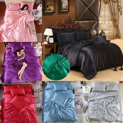 Silk Satin Cover Silky Fitted Sheet Soft Pillow Cases Bedspr