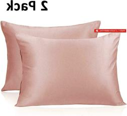 Adubor Silk Satin Pillowcase 2 Pack Silky Pillow Cases For H