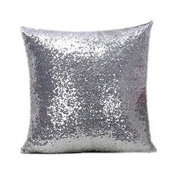 Qingsun 40x40cm Silver Pillow Covers Stylish Comfy Solid Col