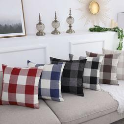 Simple Grid Pillow Cases Cushion Case Home Decoration Linen