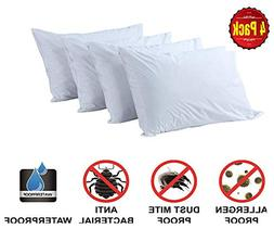 4 Pack Pillow Protectors 100% Waterproof Standard Soft Anti
