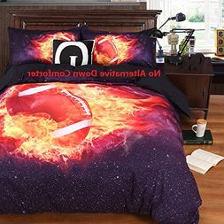 Luckey1 Soccer Fire 3D Duvet Cover Sheet Sets Twin Size for