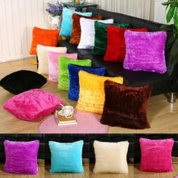 "Soft Fur Plush 18"" Square Throw Pillow Cases Home Decor Sofa"
