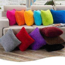Soft Fur Plush Square Throw Pillow Cases Home Decor Sofa Wai