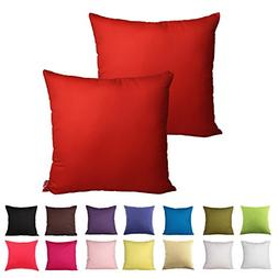 Queenie - 2 Pcs Solid Color Cotton Decorative Pillowcase Cus