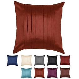 Faux Silk Pleated Decorative Throw Pillow Cover with Zipper