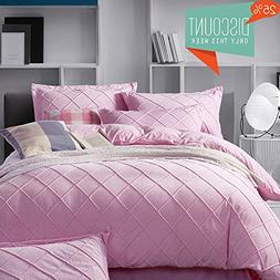 ON SALE Solid Pink Luxury Bedding Set Queen Sateen Flannel V