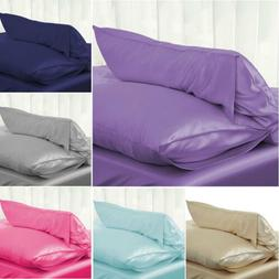 Solid Queen/Standard Silk Satin Pillow Case Bedding Pillowca