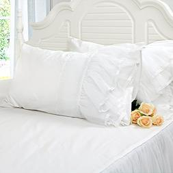 Softta 2Pc Solid White Pillowcase w Lace Patchwork Decoratio