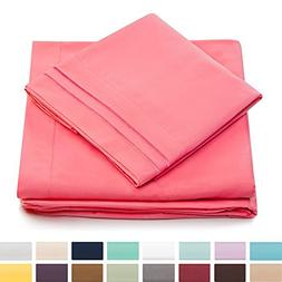 Split King Bed Sheets - Brink Pink Luxury Sheet Set - Deep P