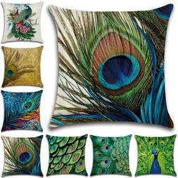 Square Peacock Feather Pillow Cases Cushion Covers Sofa Wais
