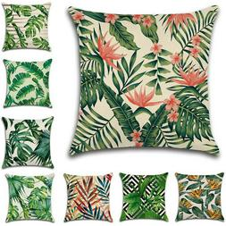 Square Pillow Cases Tropical Palm Leaves Plants Cotton Linen