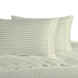 Stripe Ivory King Size Pillowcases, 2PC Pillow Cases, 100% C