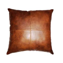 Thick genuine Leather Pillow Cover TAN Decorative For Couch