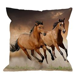 HGOD DESIGNS Throw Pillow Case Horse,Running Horses Cotton L