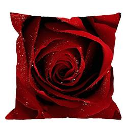 HGOD DESIGNS Throw Pillow Case Red Rose Cotton Linen Square