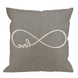 HGOD DESIGNS Throw Pillow Case Rustic Gray Love Cotton Linen