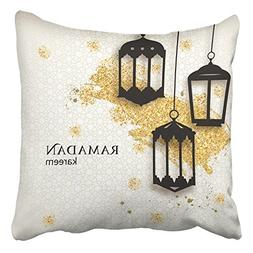 Emvency Throw Pillow Covers Ramadan Kareem Paper Cut Arabic