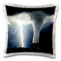 3dRose Tornado and Lightning, Pillow Case, 16 by 16-inch
