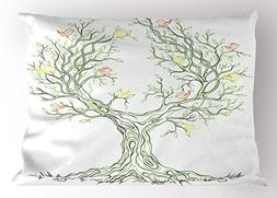 Ambesonne Tree of Life Pillow Sham by, Tree with Leaves and