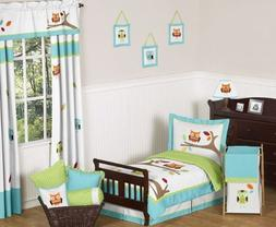 Sweet Jojo Designs 5-Piece Turquoise and Lime Hooty Owl Todd