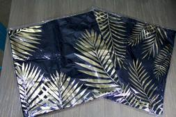 TWO Black and Gold Metallic Tropical Palm Tree Palm Frond Pi
