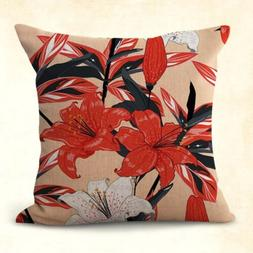 US SELLER, botanical daylily flower cushion cover home decor