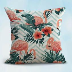 US Seller- flamingo hibiscus flower exotic cushion home deco