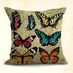 US SELLER, home decoration pillow cases vintage butterfly cu